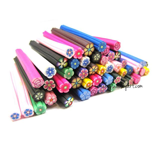 50 x Assorted Flowers Polymer Clay Canes Bulk Wholesale