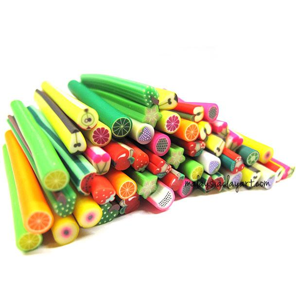 50 x Assorted Fruits Polymer Clay Canes Bulk Wholesale