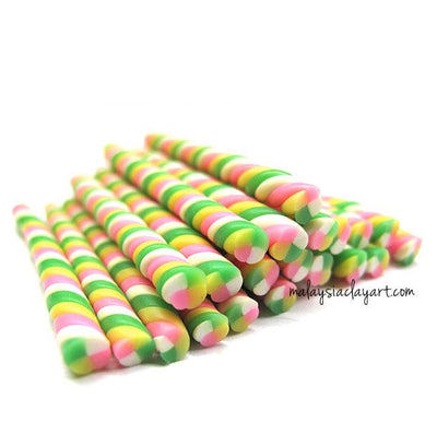 1 x Candy Swirl Green Polymer Clay Cane