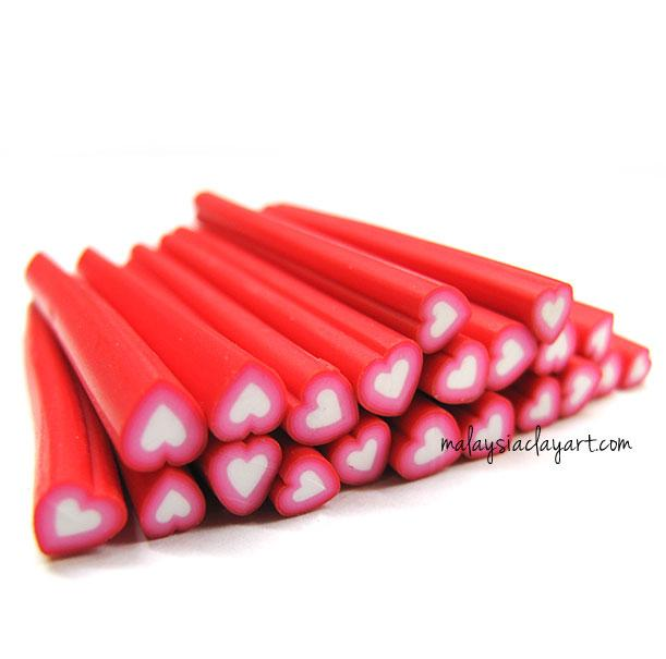 1 x Love Shaped Red Polymer Clay Cane