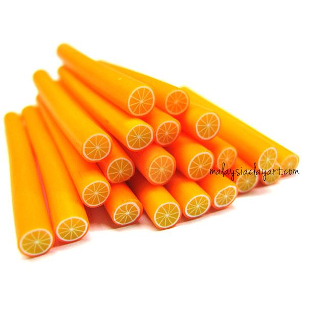 1 x Orange Polymer Clay Cane (Design 2)