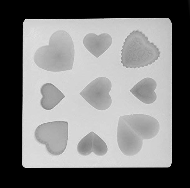 Love Heart High Gloss Silicone Mold 9 Cavity