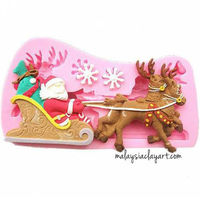 Santa Claus Elk Carriage Snowflake Silicone Mold