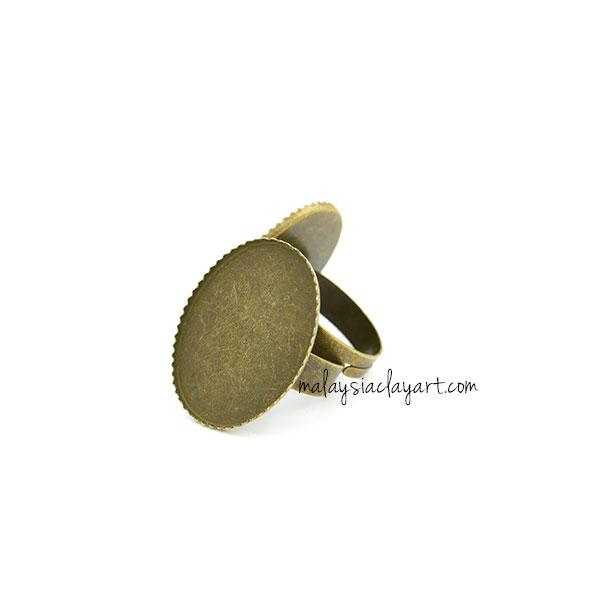 1 x Zakka Bronze Oval Ring Setting DIY Base Ring