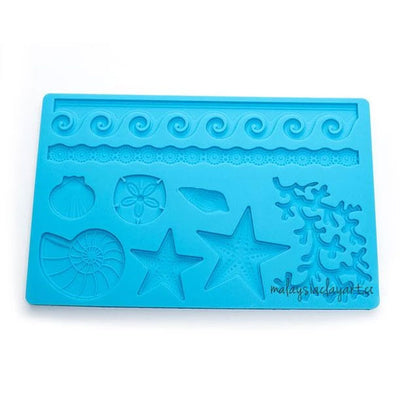 Seashells Starfish Wave Fondant Silicone Mold