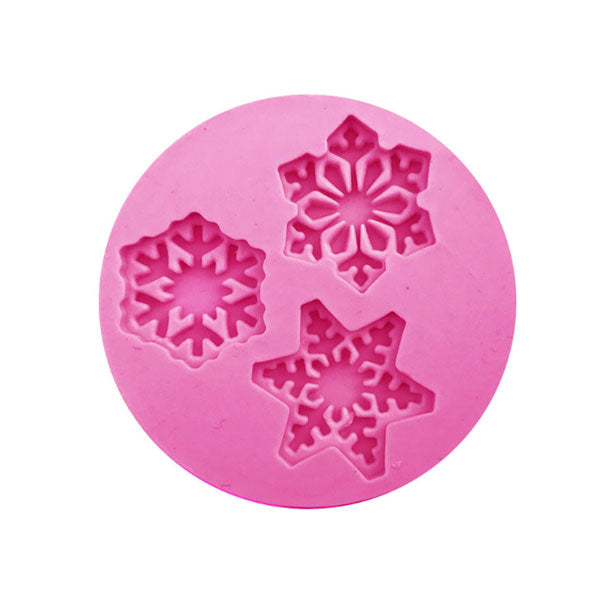 Snowflake Christmas Element Silicone Mold - 3 Cavity