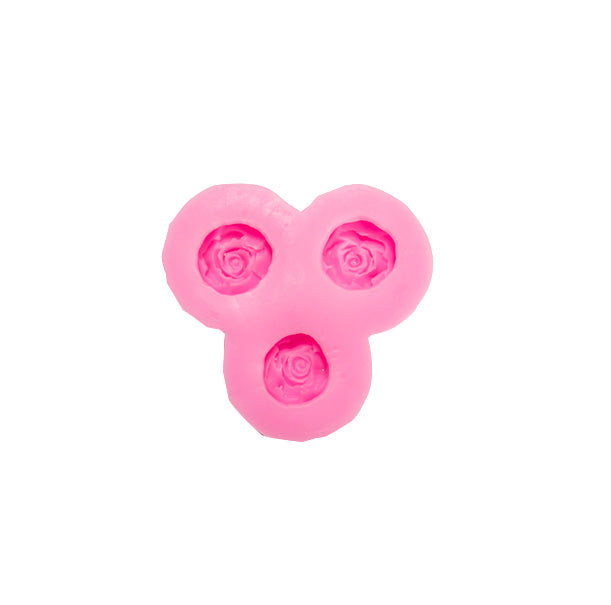 Medium Roses Flower 3 Cavity Silicone Mold