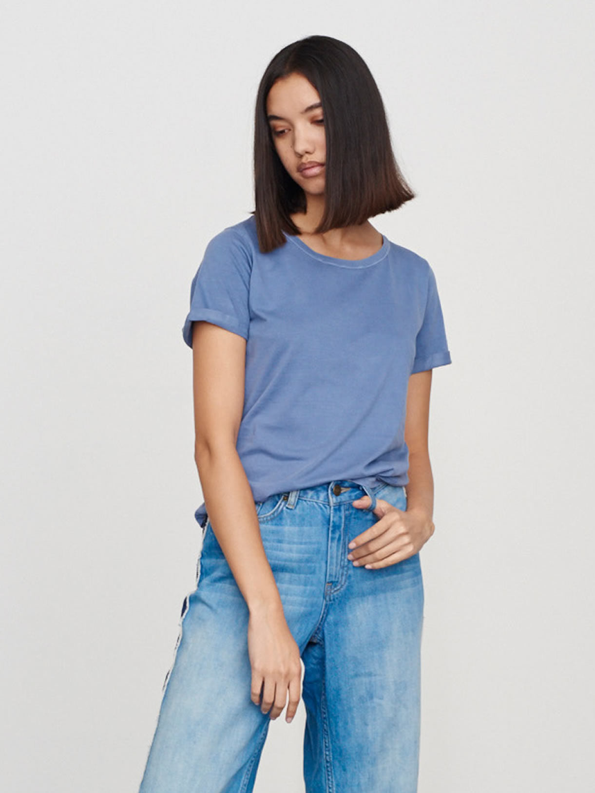 Stone Blue Round Neck Supima Tee