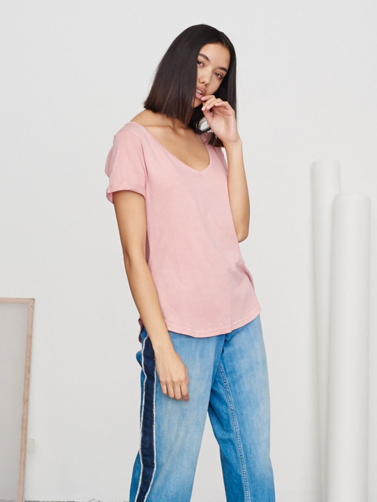 Washed Pink V-Neck Supima Tee