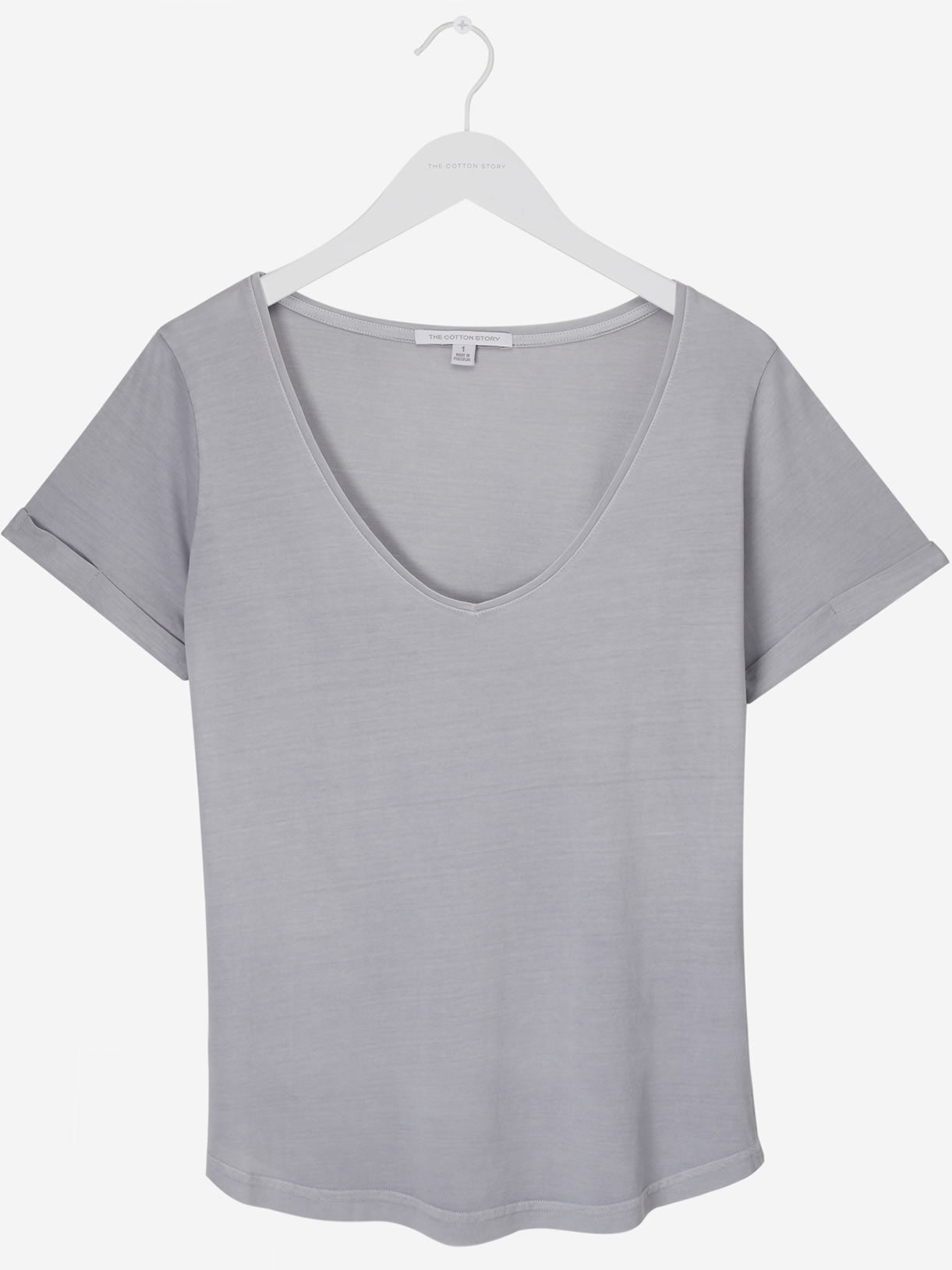 Women's Classic V Neck Tee Sharkskin Grey
