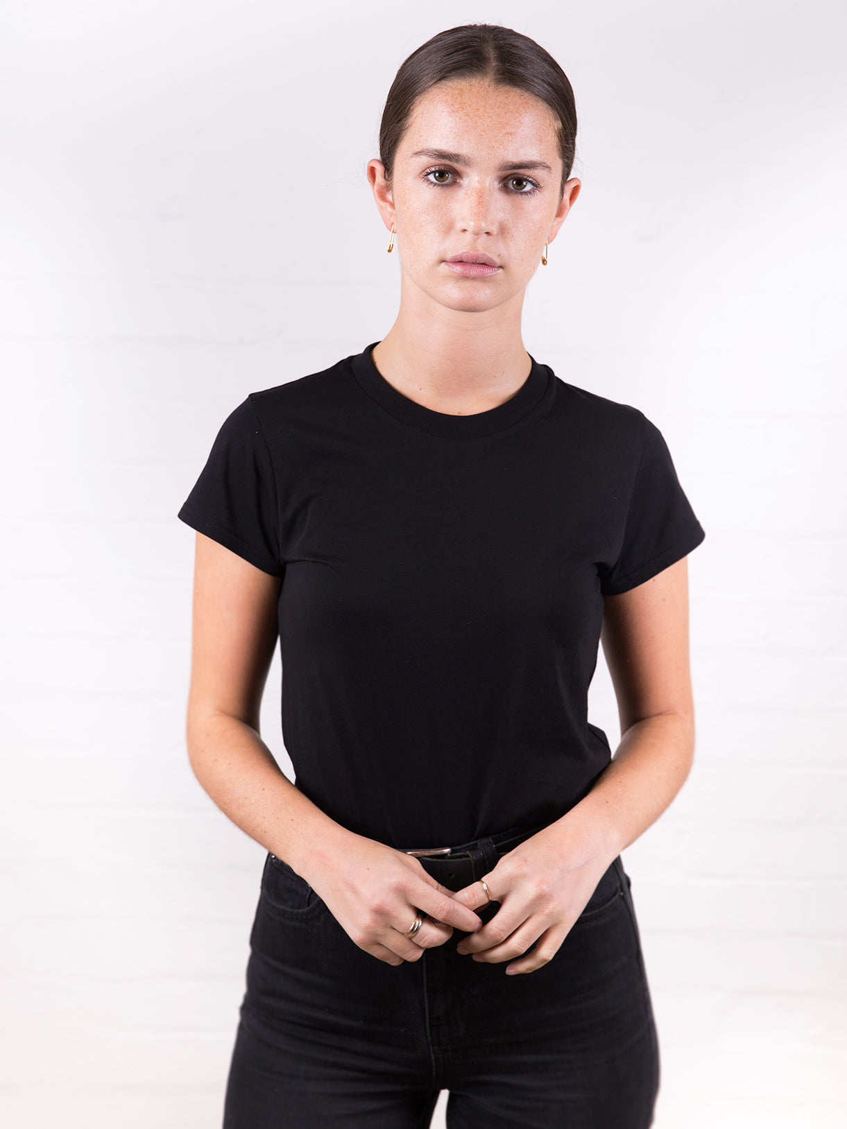 Women's High Neck Tee Black