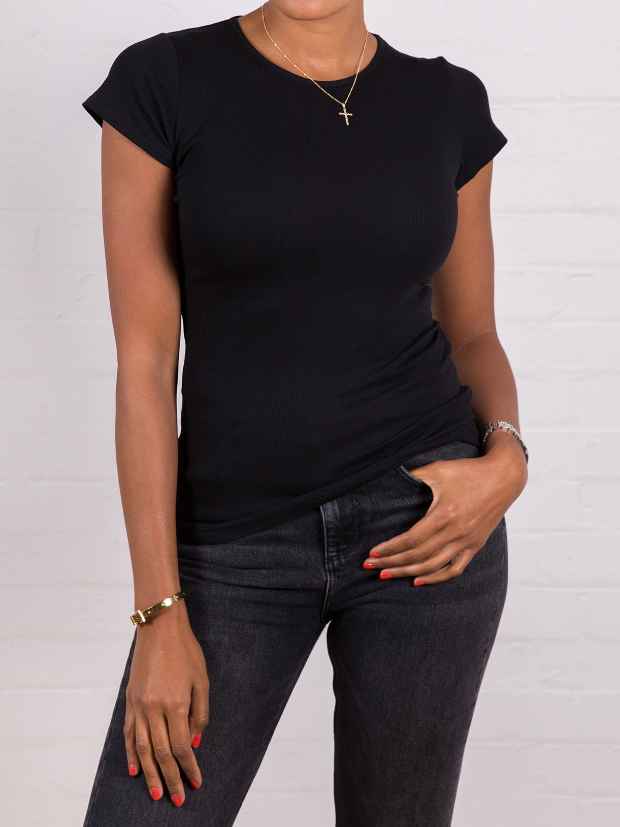 Women's High Neck Ribbed Tee Black