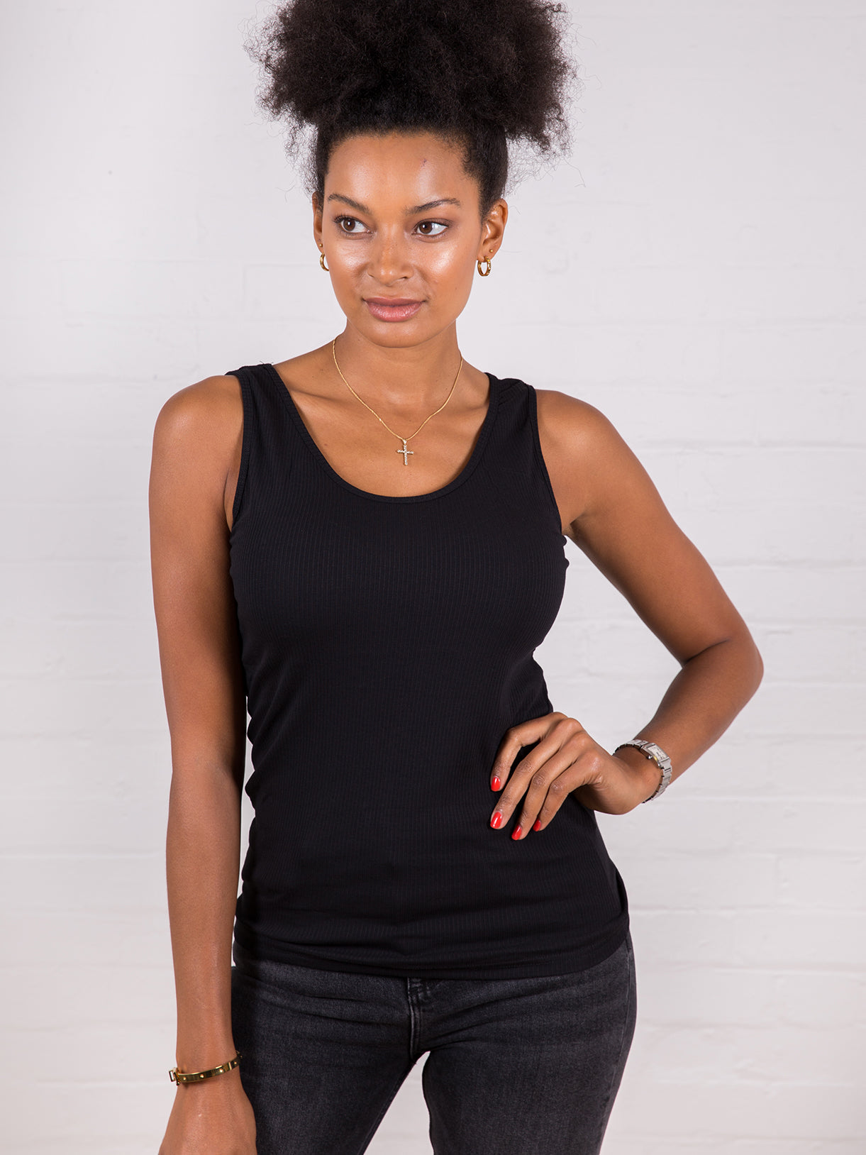 Women's Classic Ribbed Tank Top Black