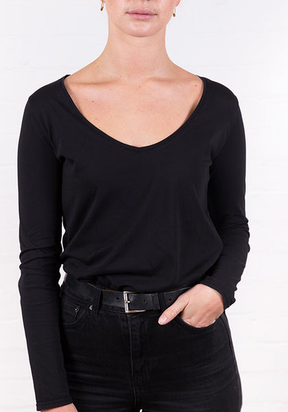 Women's Long Sleeve V Neck Tee Black