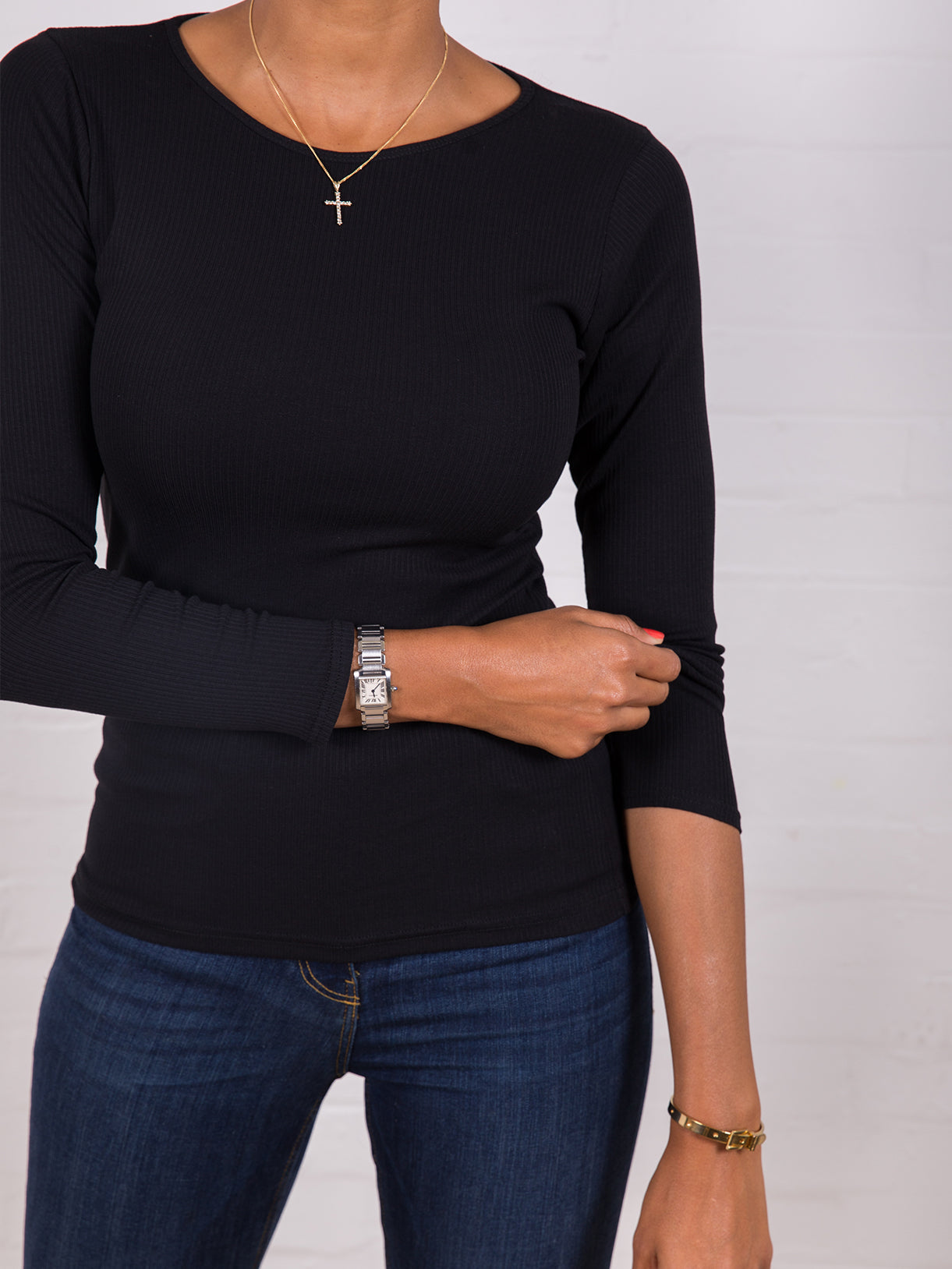 Women's Long Sleeve Ribbed Tee Black