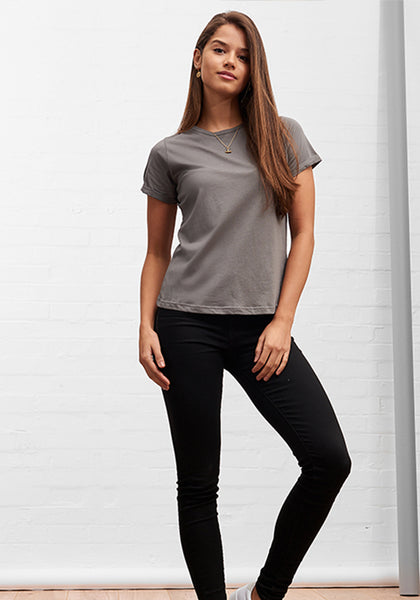 Women's Classic Round Neck Tee Charcoal