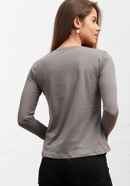 Women's Long Sleeve V Neck Tee Charcoal