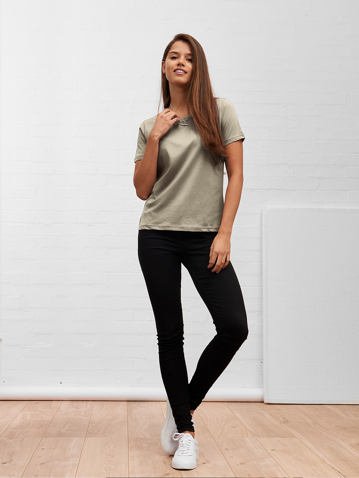 Women's Straight Cut Tee Khaki Green