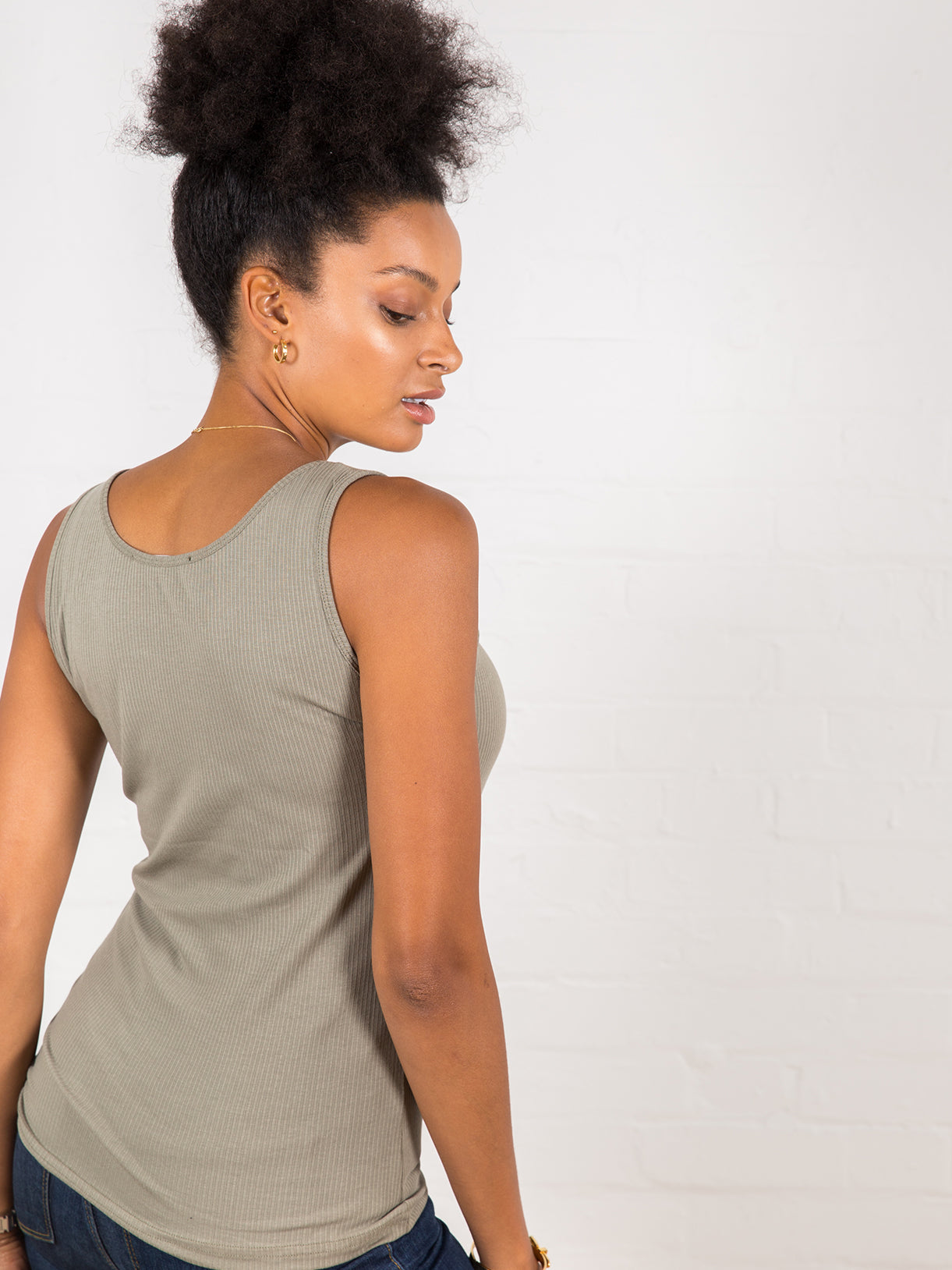 Women's Classic Ribbed Tank Top Khaki Green