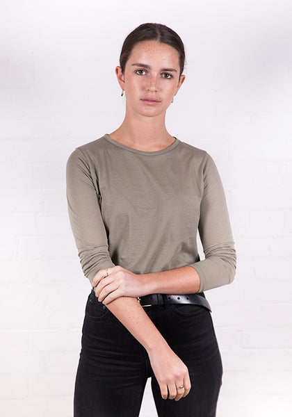 Women's Long Sleeve Round Neck Tee Khaki Green