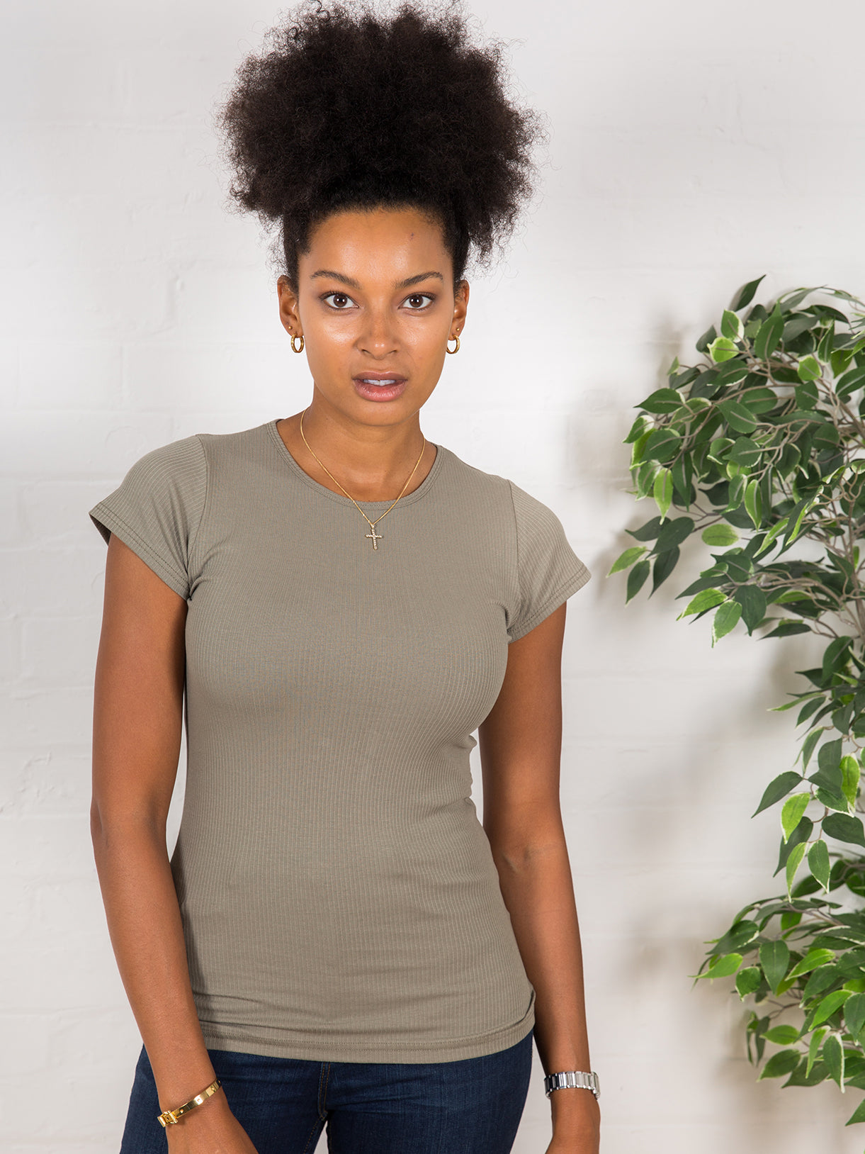 Women's High Neck Ribbed Tee Khaki Green