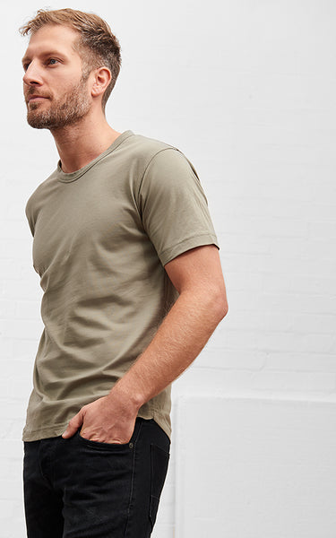 Men's American Crew Neck Tee Khaki Green