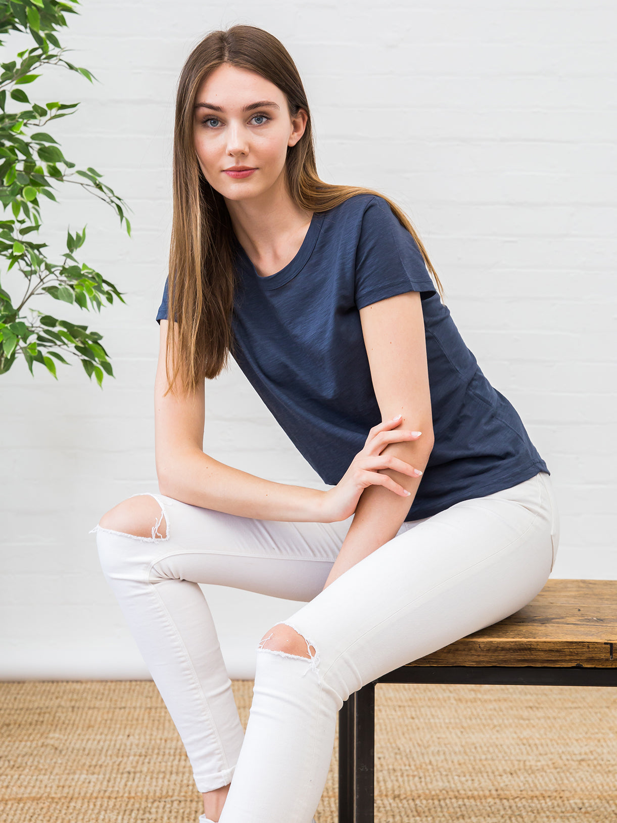 Women's Slub Cotton Crew Neck Tee Deep Navy