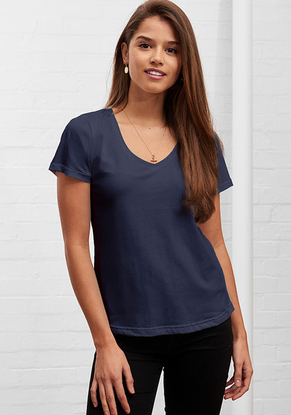 Women's Classic V Neck Tee Deep Navy