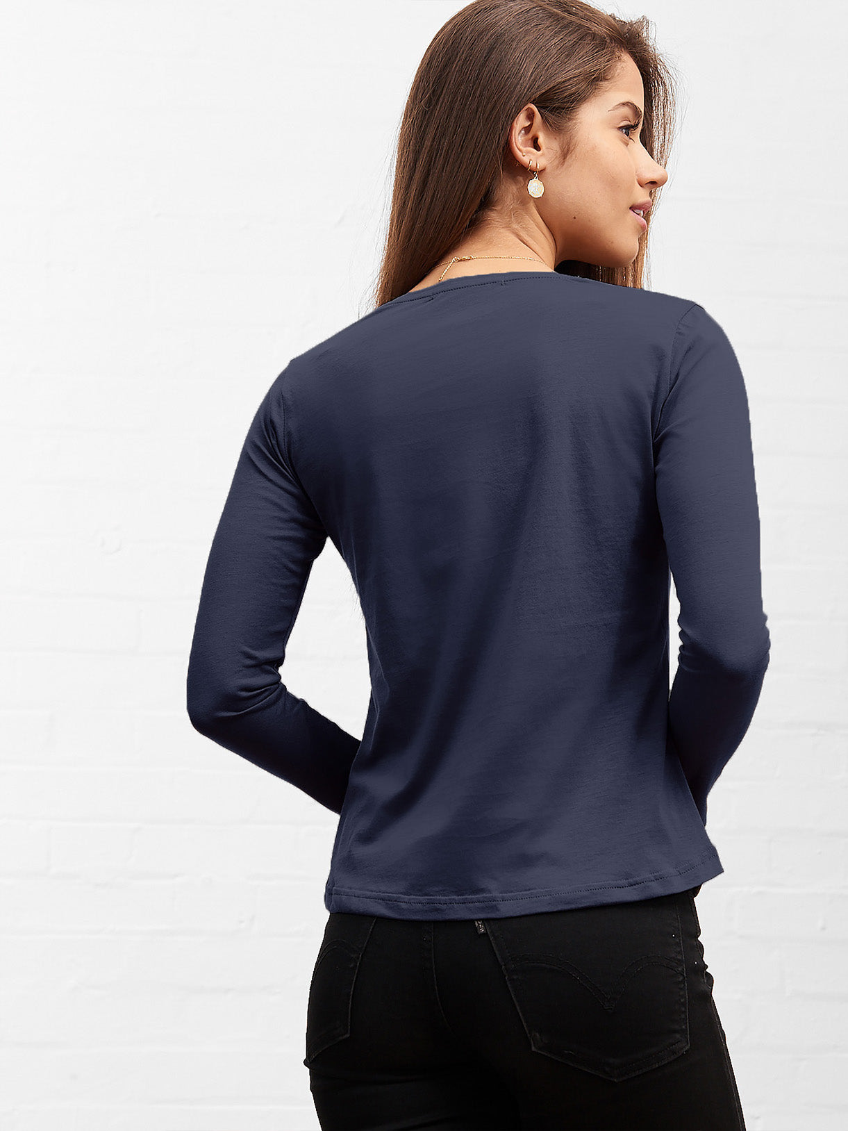 Women's Long Sleeve V Neck Tee Deep Navy