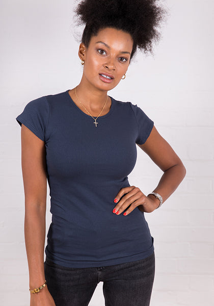 Women's High Neck Ribbed Tee Deep Navy