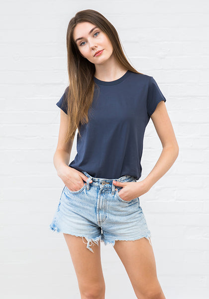 Women's High Neck Tee Deep Navy