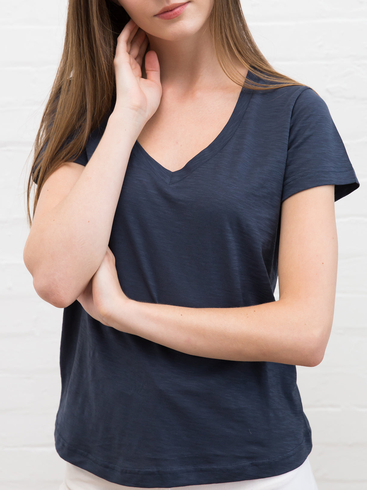 Women's Slub Cotton V Neck Tee Deep Navy