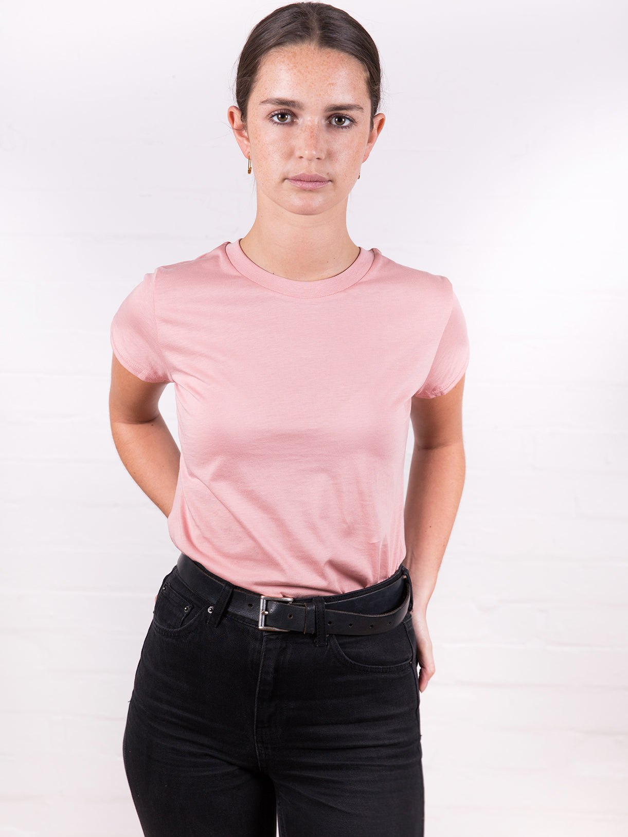 Women's High Neck Tee Washed Pink