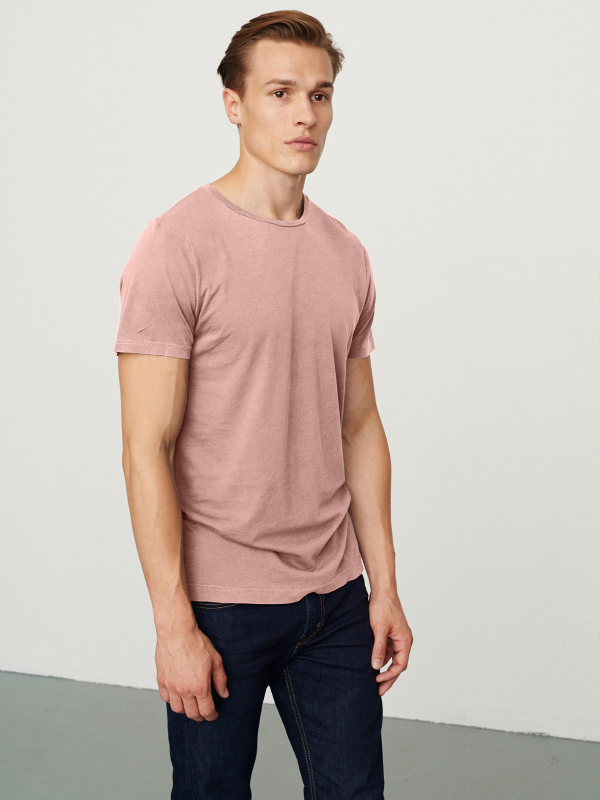 Men's Classic Rib Crew Neck Washed Pink