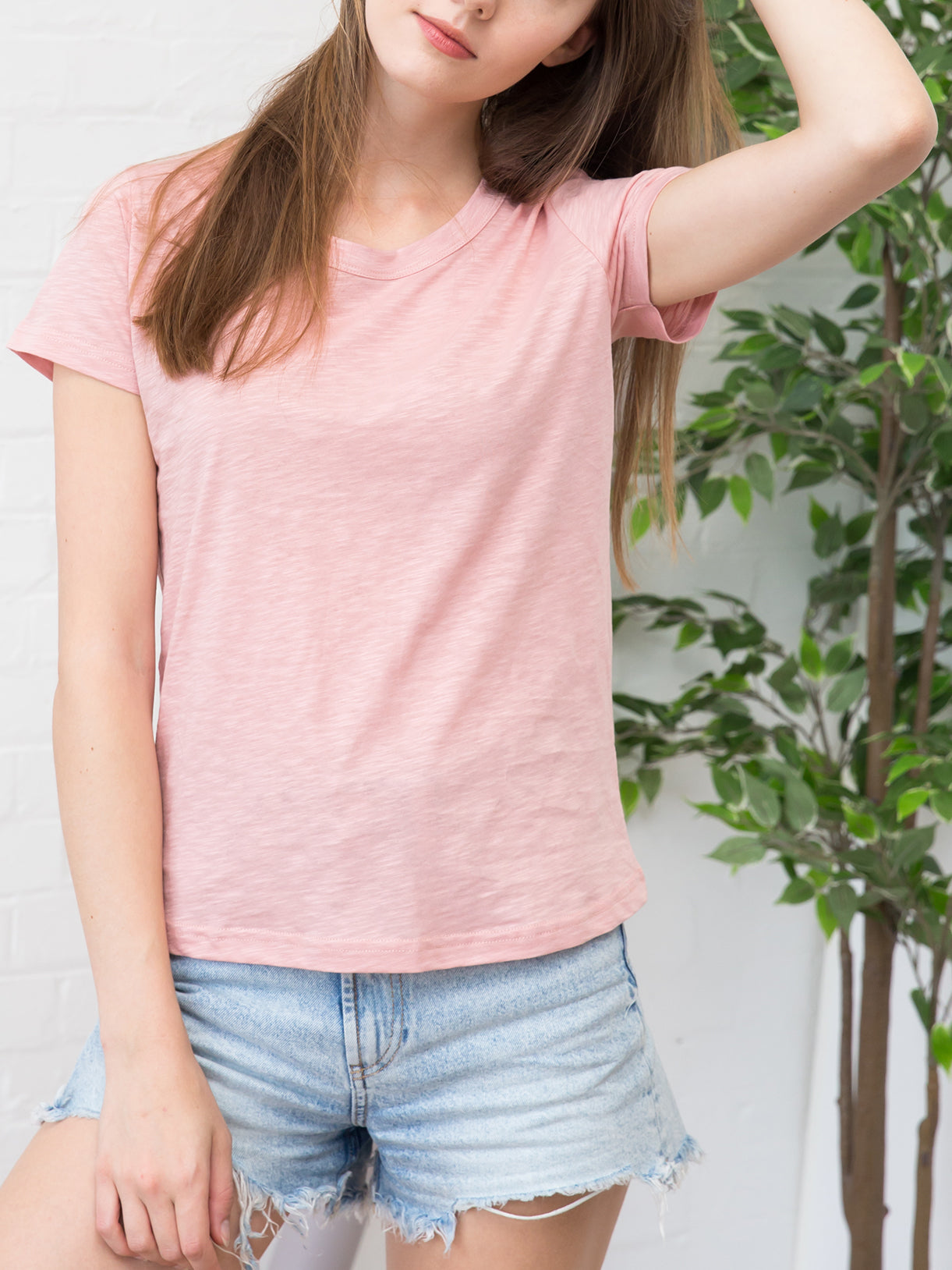 Women's Slub Cotton Crew Neck Tee Washed Pink