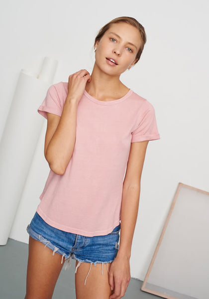Women's Classic Round Neck Tee Washed Pink