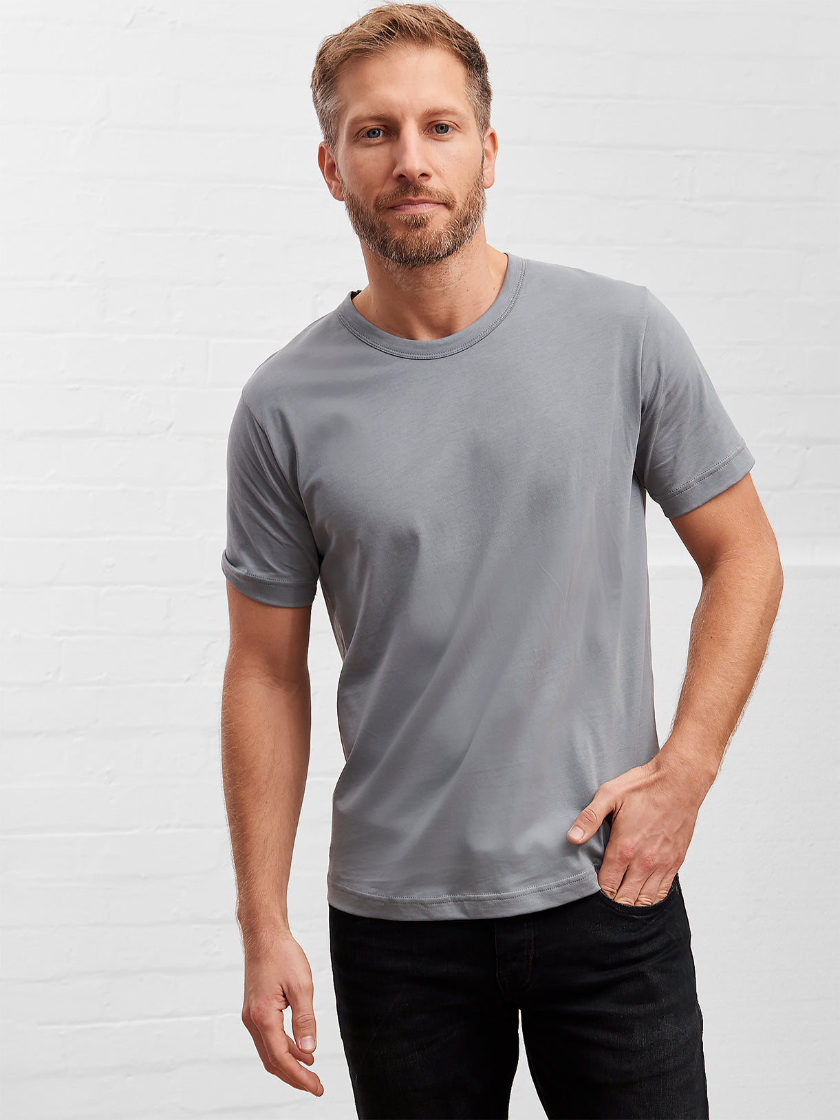 d08346641 100% Supima Cotton, Steel Grey Mens Quality T-shirt | The Cotton Story