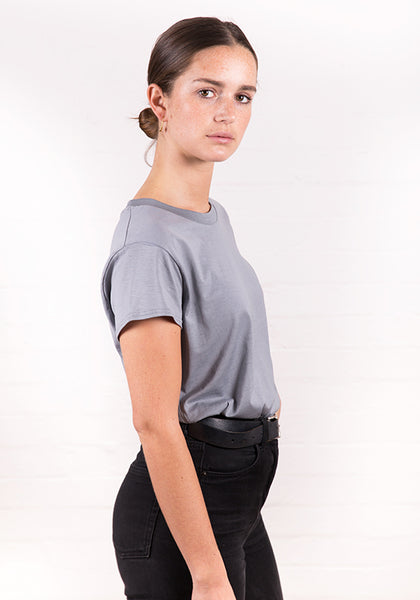 Women's High Neck Tee Steel Grey