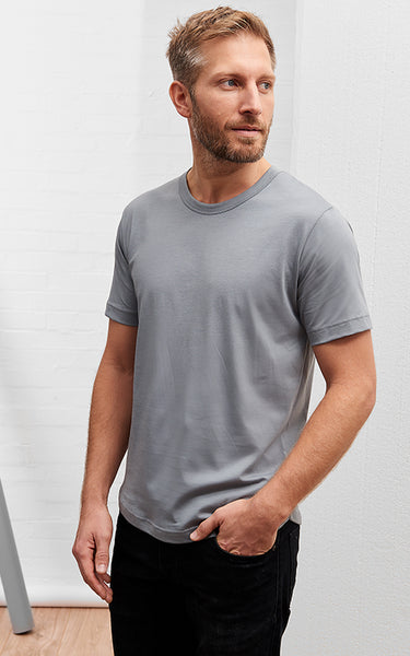 Men's American Crew Neck Tee Steel Grey
