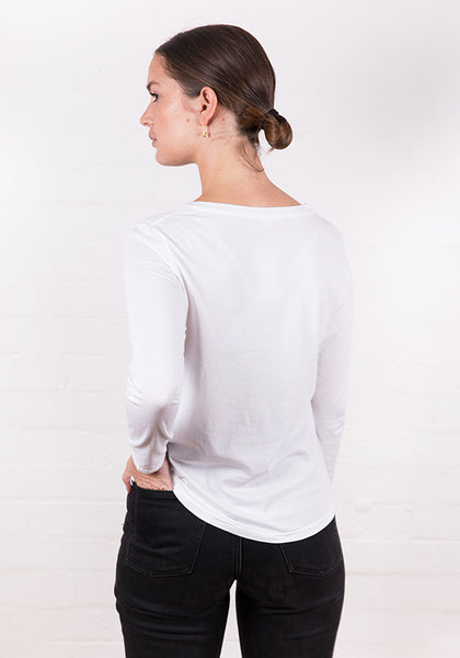 Women's Long Sleeve Round Neck Tee White