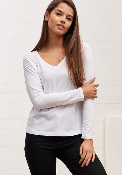 Women's Long Sleeve V Neck Tee White