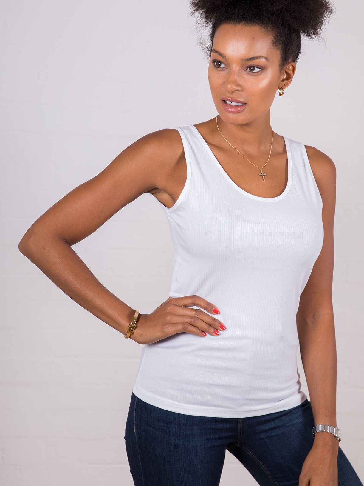 Women's Classic Ribbed Tank Top White