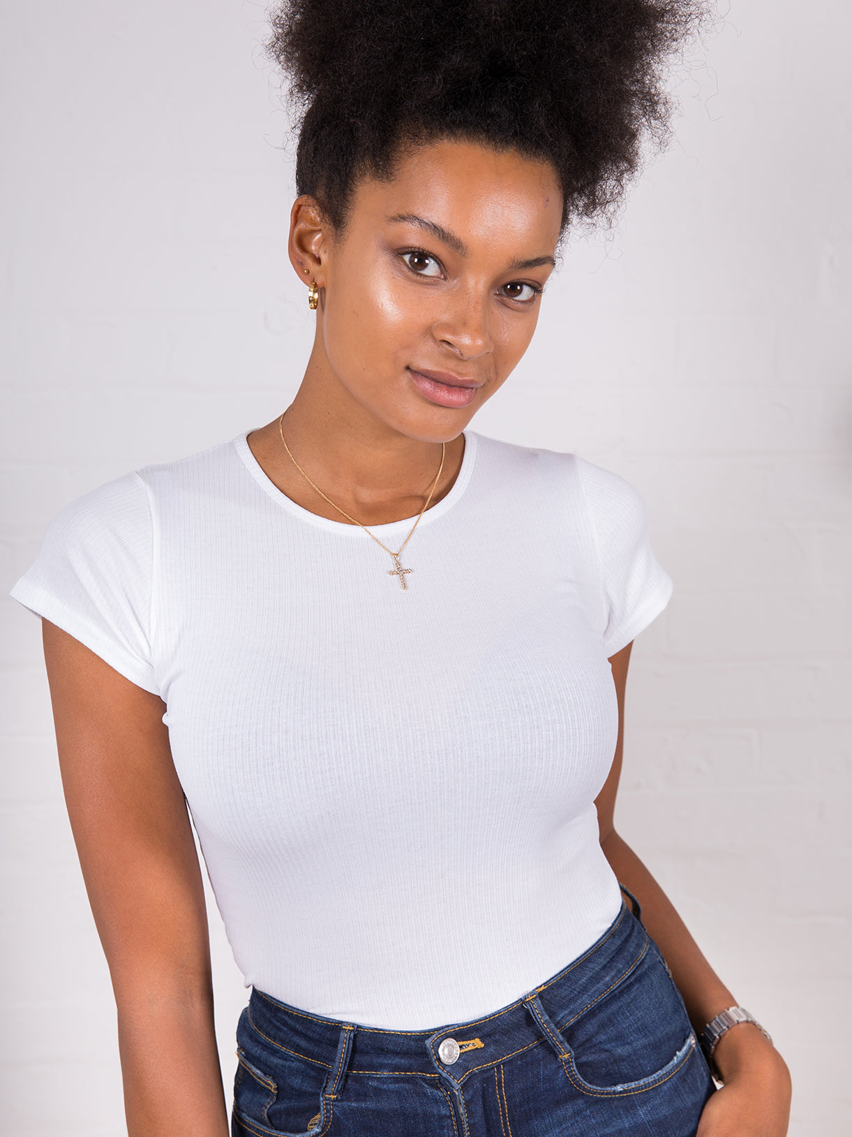 Women's High Neck Ribbed Tee White