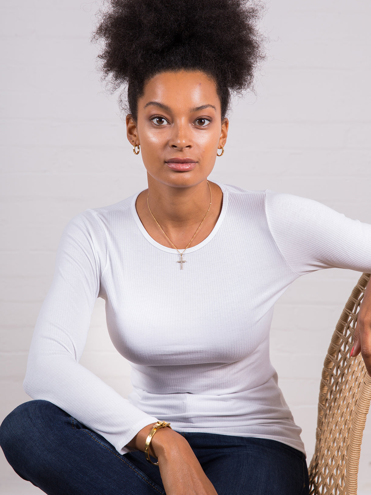 Women's Long Sleeve Ribbed Tee White