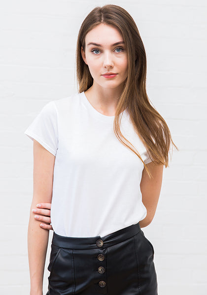 Women's High Neck Tee White