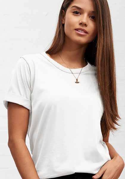 Women's Boyfriend Crew Neck Tee White