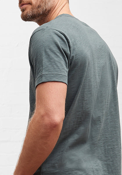 Men's Slub Cotton Curve Hem Tee Forest Green