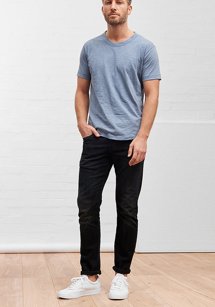 Men's Slub Cotton Curve Hem Tee Riviera Blue
