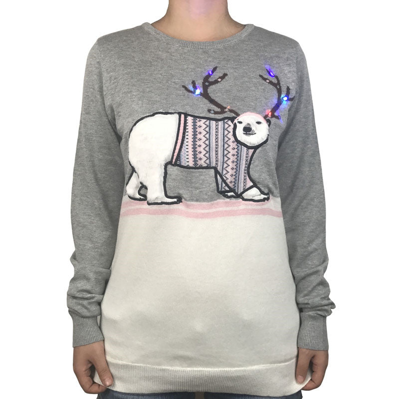c9b433935 Funny Polar Bear Light Up Ugly Christmas Sweater for Women – Cargossimo