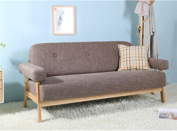 Mid Century Modern Colorful Linen Fabric Sofa Couch 3 Seater Dark Grey Blue Color Living